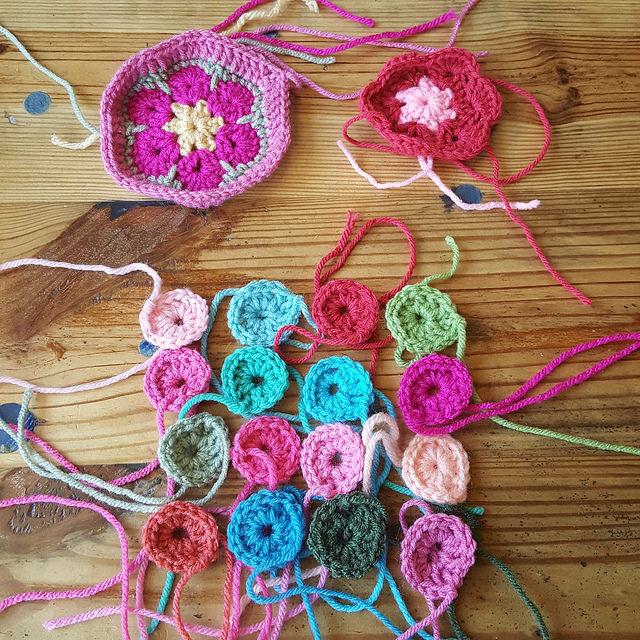 flamingo inspired crochet hexagon motifs