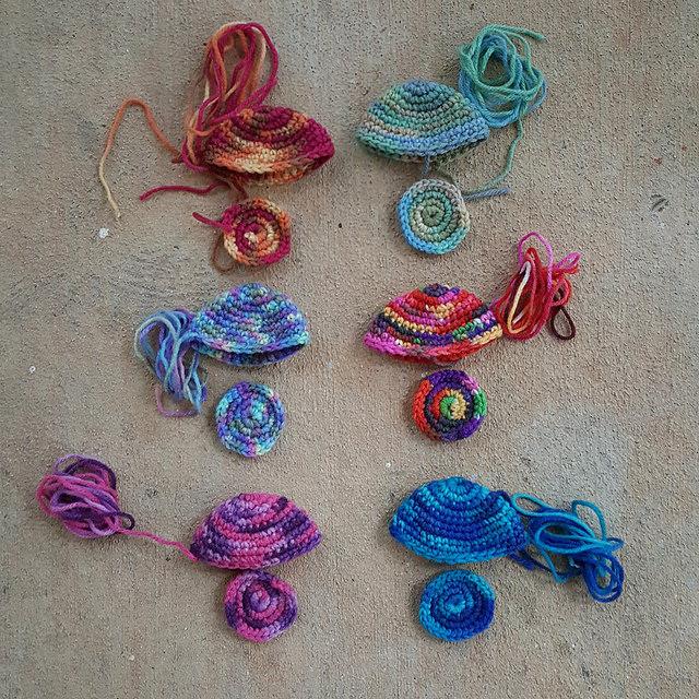 six crochet jellyfish