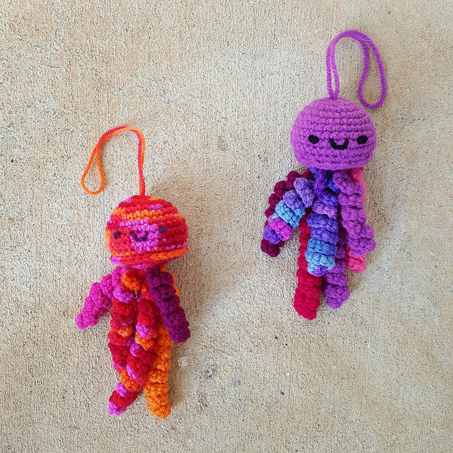 two crochet jellyfish amigurumi