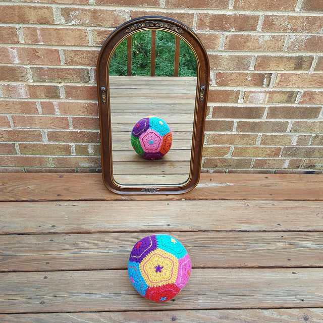 felted crochet dodecahedron selfie