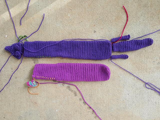 A second crochet mink begins to take shape