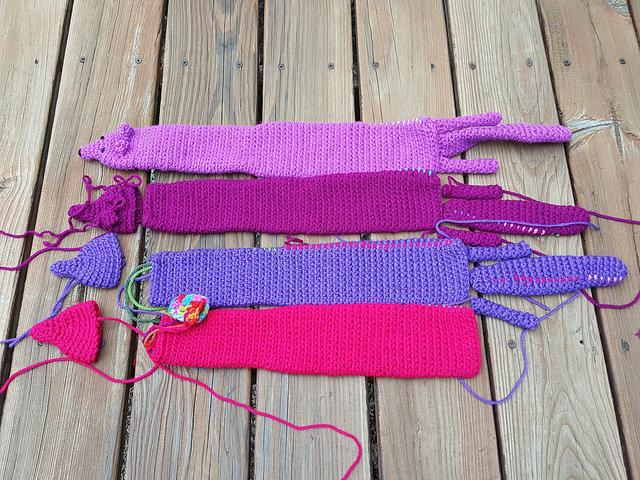 four crochet minks