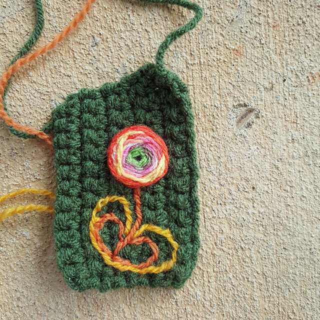 embroidery flower on crochet