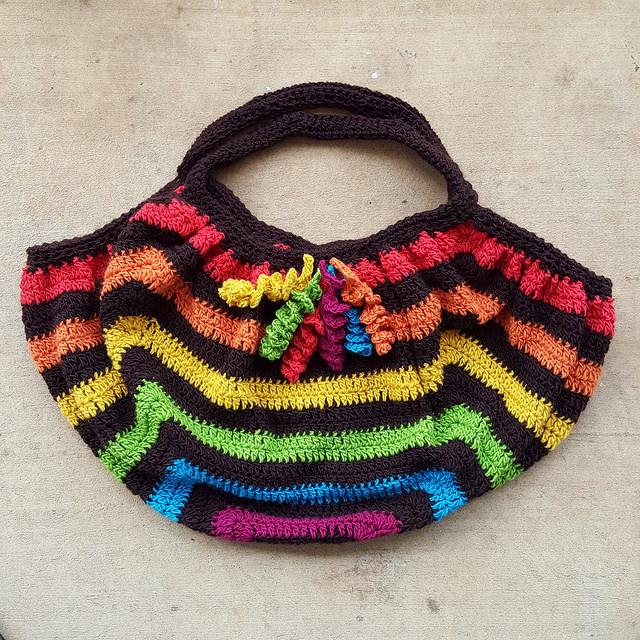 crochet fat bag with hyperbolic crochet curlicues
