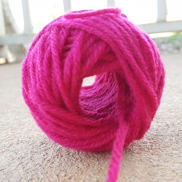 yarn ball wound on a nostepinne