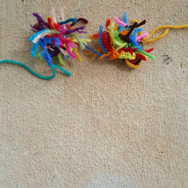 two scrap yarn crochet ears