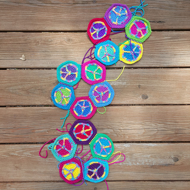 peace sign crochet hexagons, crochet soccer ball, crochetbug