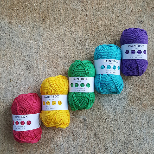 crochetbug, cotton yarn, yarn stash, mini yarn rainbow, five skeins, red, yellow, green, blue, purple