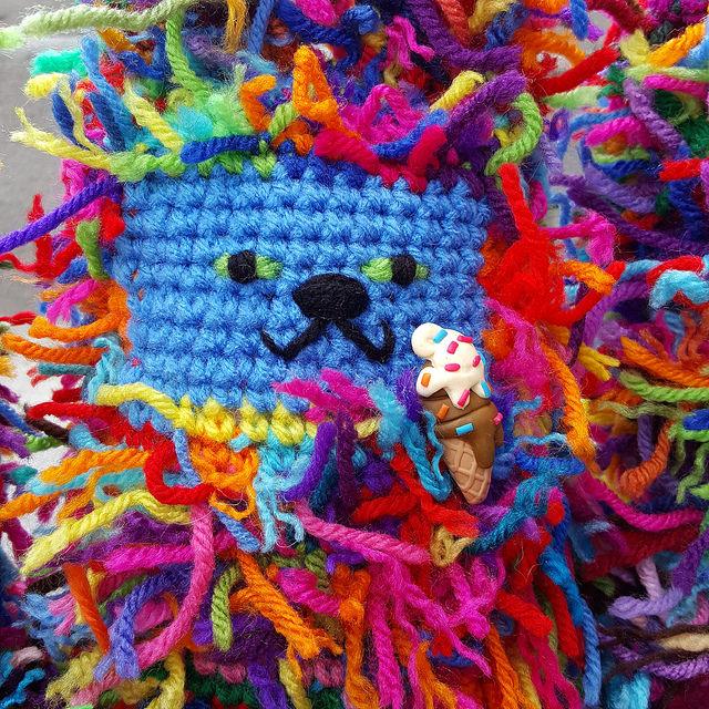 crochetbug, scrap yarn crochet cat, amigurumi cat, crochet toy, ice cream cone