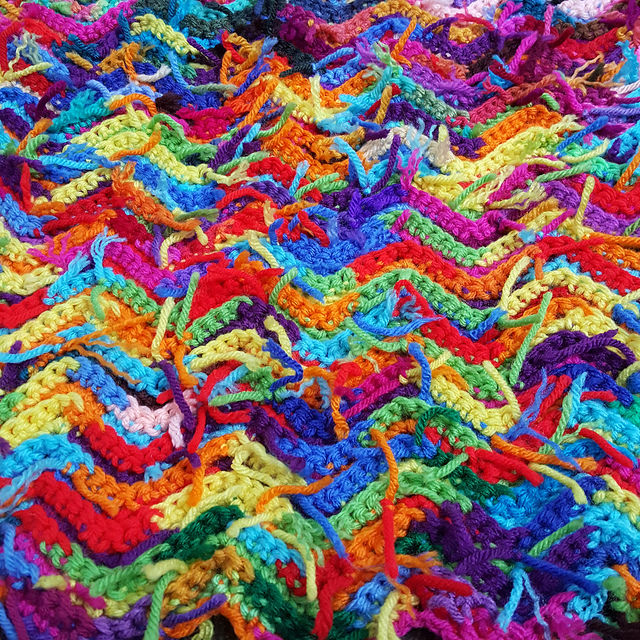 crochetbug, scrap yarn crochet ripple afghan, crochet ripple throw, crochet ripple blanket, use what you have, waste not want not