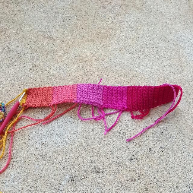 crochet purse strap, crochetbug, crochet strap, rainbow crochet, psychedelic crochet, transform the world with yarn