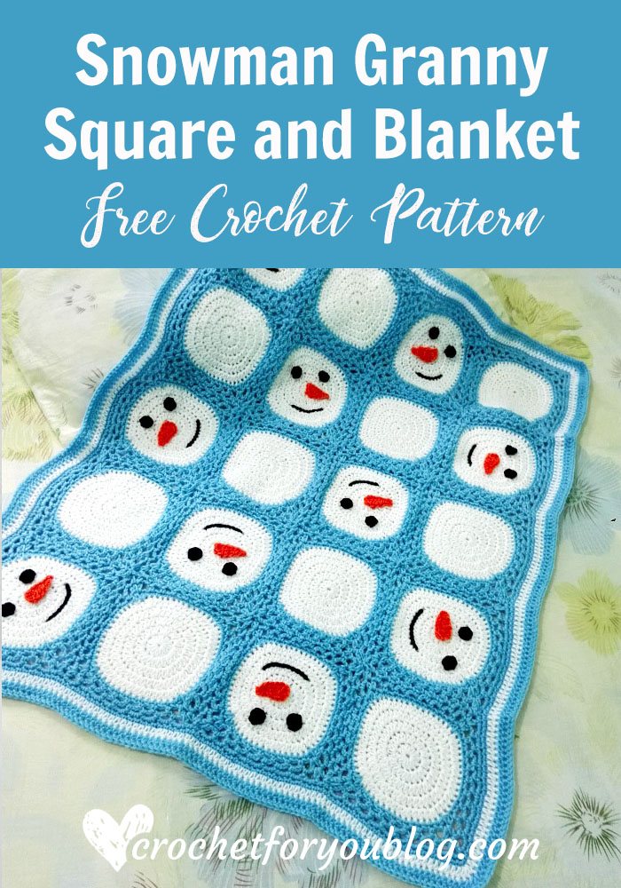 Crochet Snowman Granny Square and Blanket - free pattern