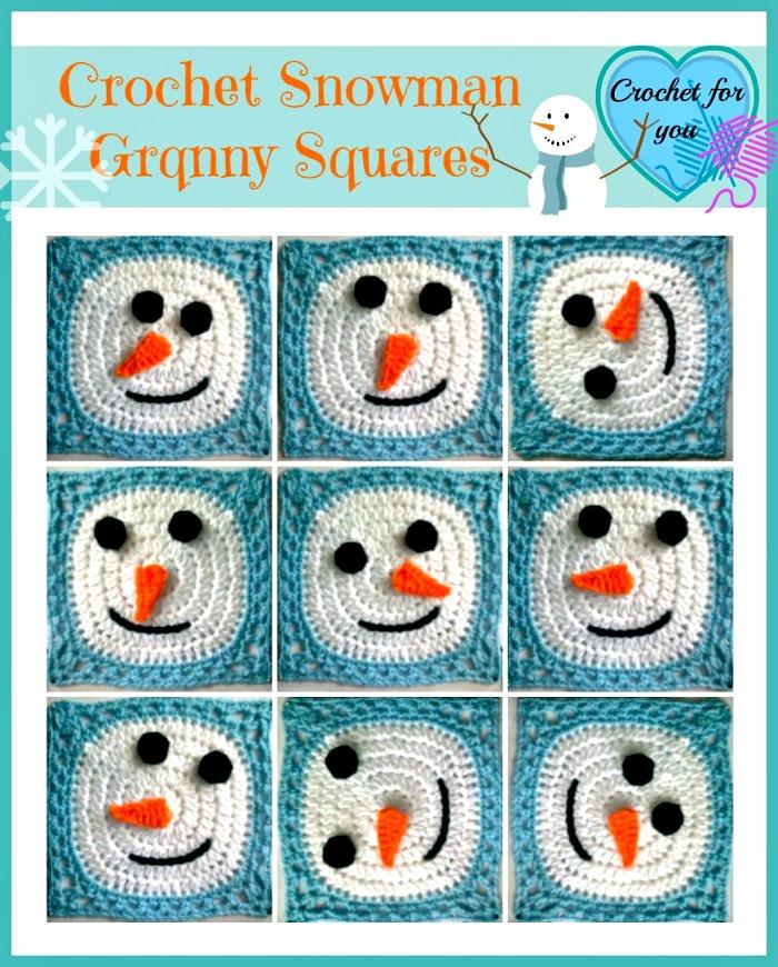 Free Crochet Snowman with Granny Squares #freepattern #snowman #crochet