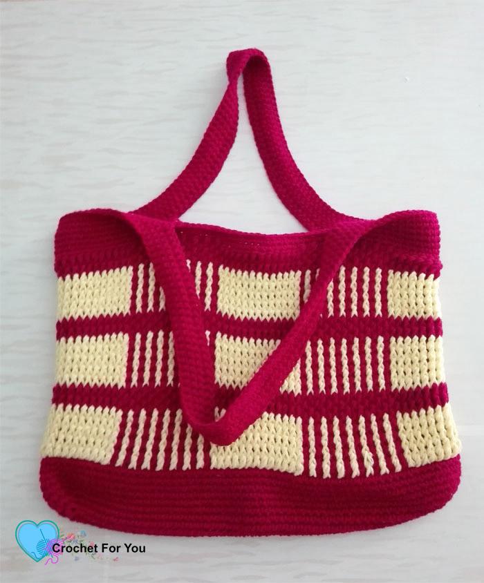 Crochet Uptown Plaid Tote Bag