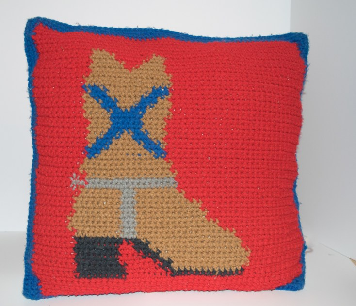 Western Boot Crocheted Pillow