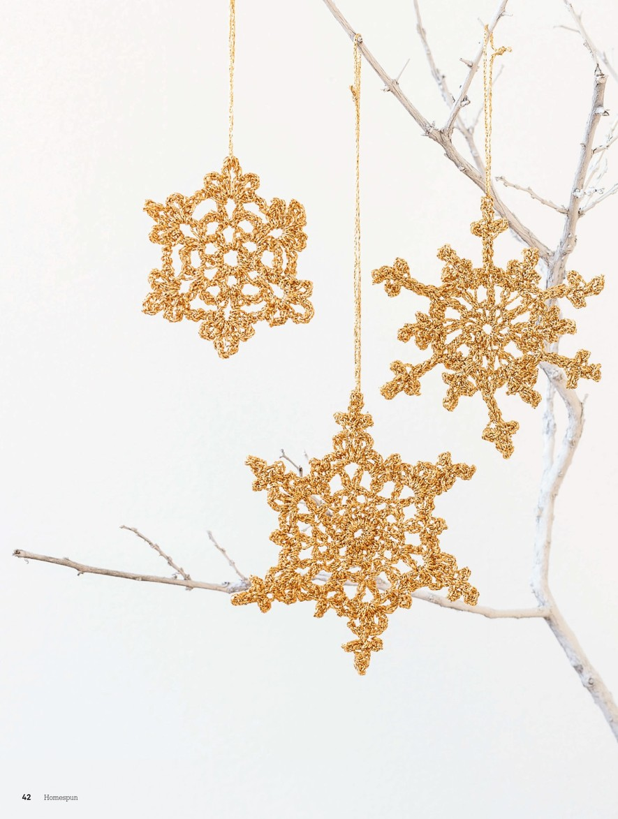 Gold Snowflake Crochet Christmas Ornament  Crochet Kingdom
