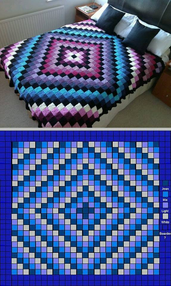 Patchwork Crochet Free Pattern Diamond Design  Crochet
