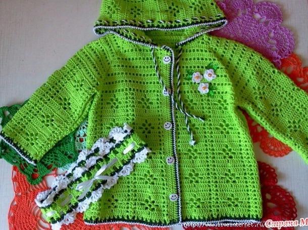 Cotton jacket and headband for girls free crochet