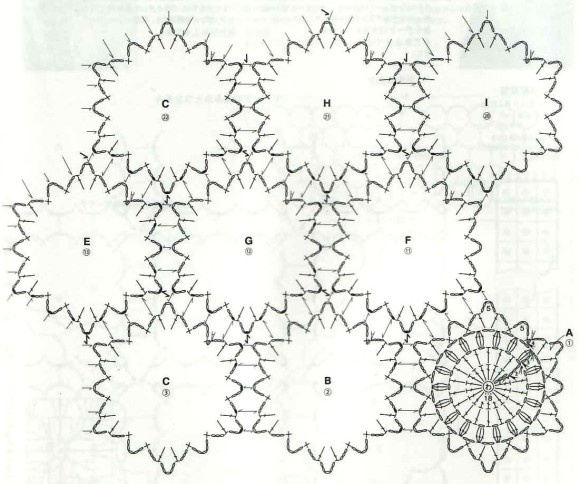 Afghan with round motifs and interesting joining 1