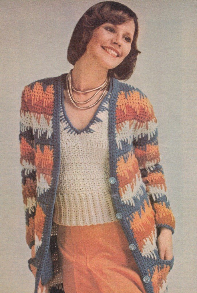 Vintage Crochet Pattern  1970s Sweater and Scarf Set