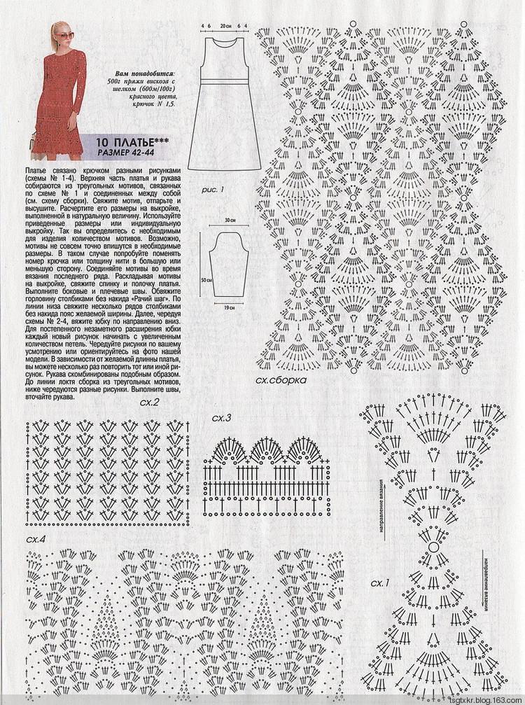 Red Crochet Dress Pattern diagram  Crochet Kingdom