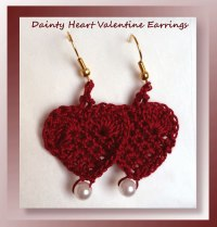 Free Crochet Dainty Heart Valentine Earring pattern