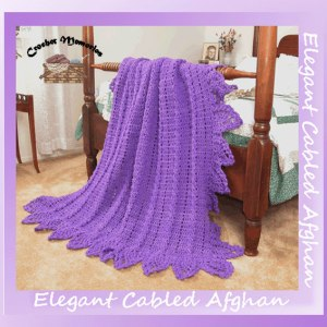 shop.crochetmemories.com - cabled pineapple afghan pattern SKU-0356