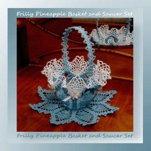 Frilly Pineapple Basket & Saucer Set