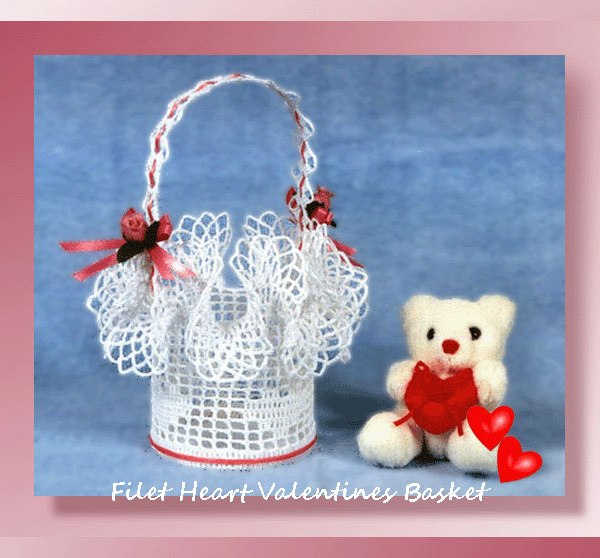 Filet Heart Valentines Basket