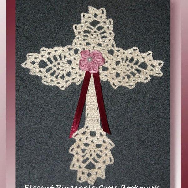 Elegant Pineapple Cross Bookmark