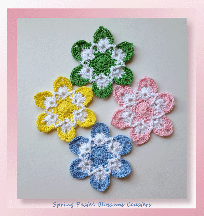 Spring Pastel Blossoms Coasters Crochet Coaster Patterns