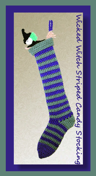 Wicked Witch Striped Candy Stocking Crochet Halloween