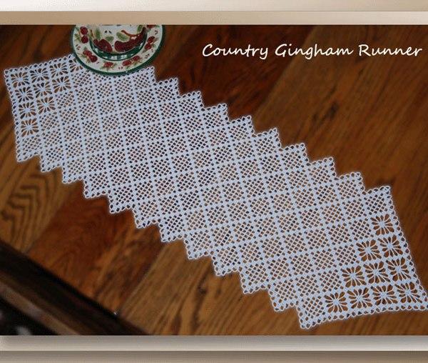 Country Gingham Runner – Crochet Table Runner Patterns