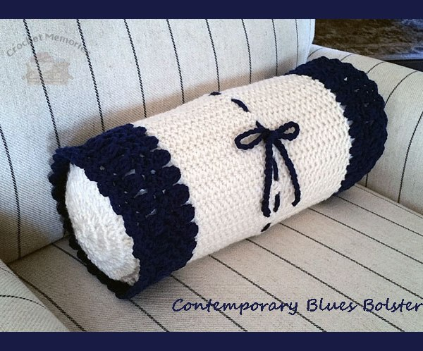 Contemporary Blues Bolster - Crochet pattern for a contemporary and easy bolster - CrochetMemories.com