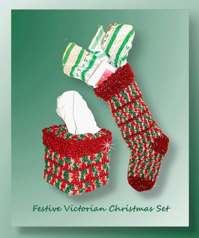 Victorian Christmas Stockings.Festive Victorian Christmas Set 5 95 Crochet Memories