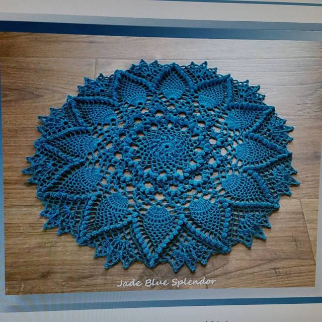 Blue Jade Doily available early next month Now being tested