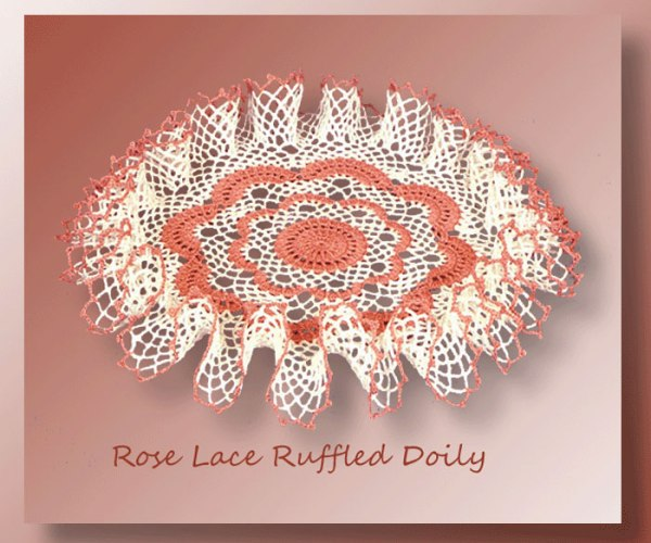 Rose Lace Ruffled Doily    <br /><br /><font color=