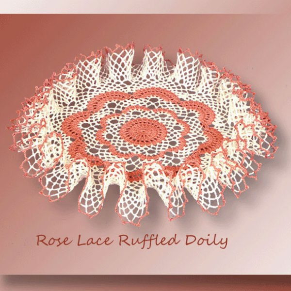 Rose Lace Ruffled Doily - Crochet pattern for a textured ruffled doily