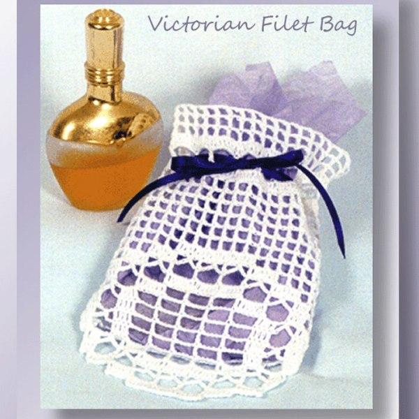 Victorian Filet Bag - Crochet pattern for a filet crochet gift bag