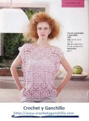 Blusas de crochet. Hermosa blusa tejida en base a un motivo