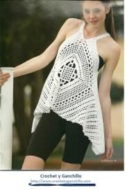 Remeras a crochet patrones. Remera tipo bluson maravilloso