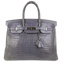 Crocodile Birkin 35 Handbag palladium silver hardware Satchel By Hermès
