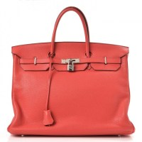 Birkin 40 Pink Taurillon Clemence Red Leather By Hermès