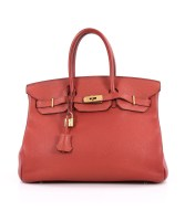 Birkin Bag 35 Sanguine Togo Gold Hardware Pre-Owned By Hermès
