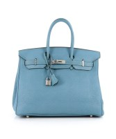 Pre-Owned Birkin bag 35 Blue Jean Togo Palladium Hardware By Hermès