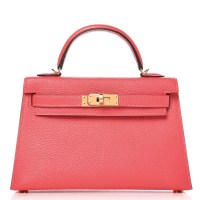 Mini Kelly Bag Sellier 20 Hermes Chevre Mysore Rose Lipstick