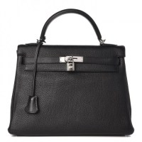 Kelly Bag 32 Hermes Togo Retourne Noir Black