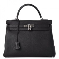 Kelly 32 Hermes Bag Togo Retourne Noir Black