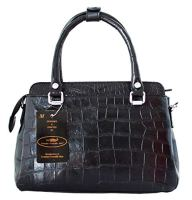 Authentic Crocodile Skin Tote Strap Shiny Black Handbag