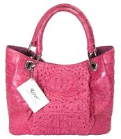 Crocodile Skin Womens Pink Handbag